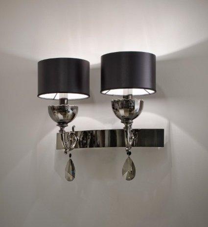 Lámpara de pared de colour negro y hecho a mano Masiero nuare, fabricado en Italia