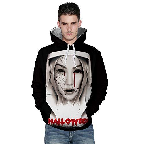 kaifongfu Long Sleeve Sweatshirt,Autumn Winter Mens Autumn Winter 3D Printing Hoodies Blouse(Black B,L) -