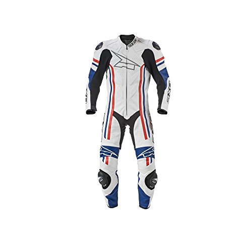 AXO Indy Men's Leather Suit (White/Blue/Red, Size EU 56/Size US 46)