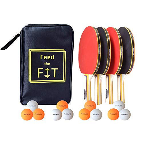 Paddle Set - Feed the Fit Ping Pong Paddle Set - Professional 4-Player Table Tennis Racket Bundle with 12 Balls and Carrying Case, Perfect Grip and Control - Great Outdoor Activity for Family, Kids and Friends