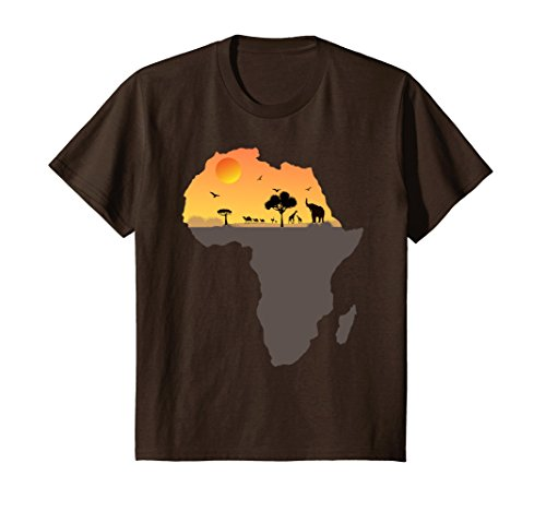 Kids Exotic Safari Animals in Sizzling Africa Orange Sky T-Shirt 10 Brown by Africa Shirts Nation