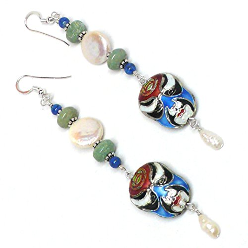 - Chinese Cloisonne Opera Mask Cultured Freshwater Coin Pearl Turquoise Dangle Earrings