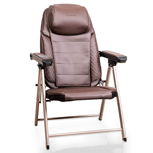 uKnead Electric Portable Folding Full Body Shiatsu Massage Chair with Heat, Kneading Adjustable Rollers, Seat Vibration & USB Charger, -