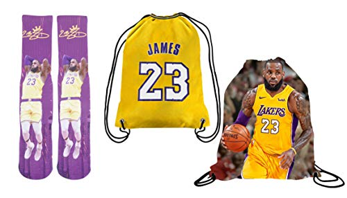 Forever Fanatics Lebron James #23 Basketball Crew Socks ✓ Lebron James Autographed ✓ One Size Fits 6-13 ✓ Ultimate Basketball Fan Gift (Size 6-13, James Socks Gift Set)