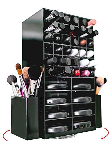 Spinning Acrylic Makeup Organizer Carousel - Holds 72 Lipstick Holder Slots, Brushes & 16 Powder Compact Cases | Black Cosmetics Storage Box