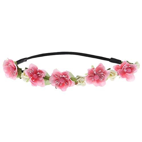Hair Womens Pink T-shirt - Floral Fall Cute Stretch Flower Crown Party Headband Wedding Hair Wreath F-003 Pink