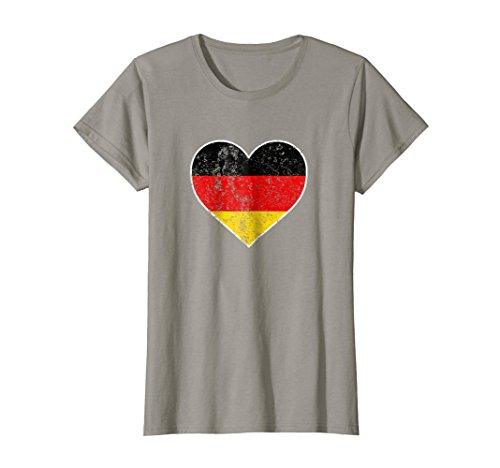 Heart Flag German (Womens I Love Germany Cute Flag Heart German Deutschland T Shirt Small Slate)