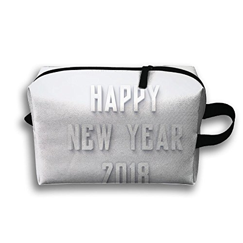 Happy New Year 2018 Cosmetic Bags Makeup Organizer Bag Pouch Zipper Purse Handbag Clutch Bag