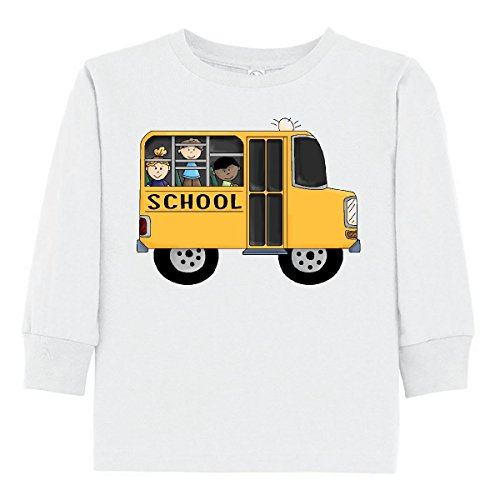inktastic - School Bus Toddler Long Sleeve T-Shirt 3T White 5f95 (Toddler School Tee)