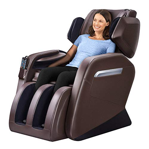 Massage Chair Zero Gravity Full Body Shiatsu Luxurious Electric Massage Chair Recliner with Stretched mode Heating back and Foot Rollers Massage Therapy Brown