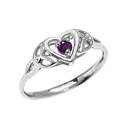 Dainty 10k White Gold Trinity Knot Heart Solitaire Amethyst Engagement and Proposal Ring (Size 9)