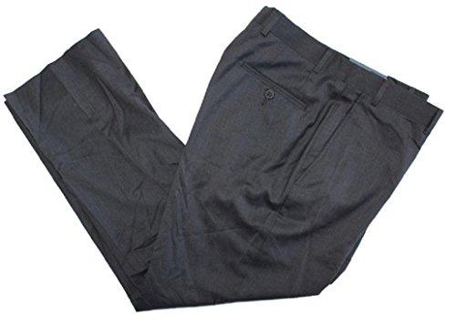 Kirkland Signature Men's 100% Wool Flat Front Dress Pants (Charcoal Twill, 34W x 30L)