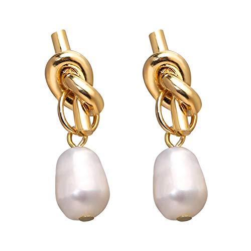 Vintage Gold Drop Earrings For Women 2019 Brincos Geometric Drop Earring Big DIY Wedding Irregular Freshwater Pearl Jewelry,VHS 1335