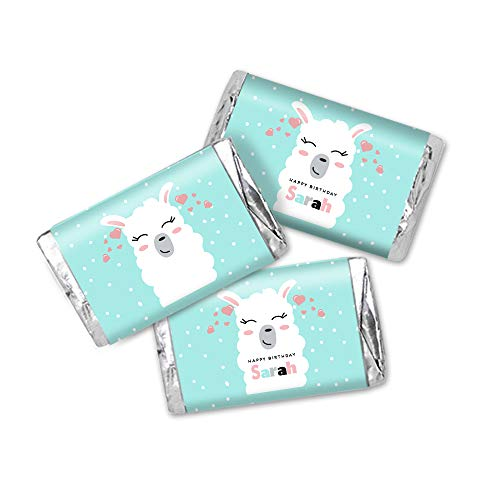 Mint Llama Pink Hearts Kids Personalized Birthday Party Favor Stickers, Miniatures Candy Bar Wrapper Labels, 54 Total