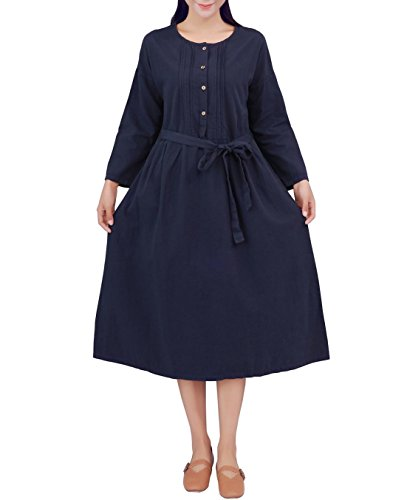 YUHEYUHE Womens Casual Loose Clothing Spring/Fall Cotton Linen Long Dresses with Pockets