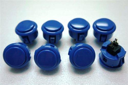 Sanwa 8 Pcs OBSF-30 Dark Blue OEM Arcade Push Button