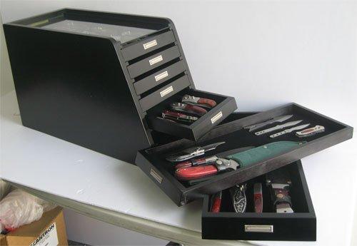Knife Storage/Display Case Holder Tool Storage Cabinet, with drawers (Black Finish)