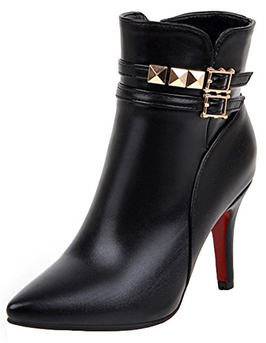 Summerwhisper Women's Sexy Studded Rivets Buckle Straps Pointed Toe Side Zipper Stiletto High Heel Ankle Boots Black 8 B(M) US by Summerwhisper