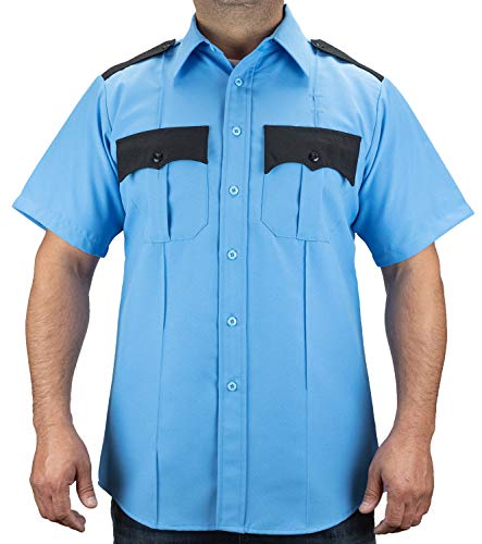 First Class Two Tone Short Sleeve Shirt-Light Blue