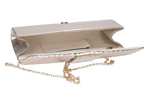 Bolsa mujer MICHELLE MOON pochette oro de mano de ceremonia + strass N971