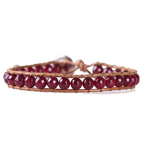KELITCH Created Garnet Crystal Beaded Single Wrap Bracelet on Brown Leather Handwoven New Cuff Bracelet (Red) ()