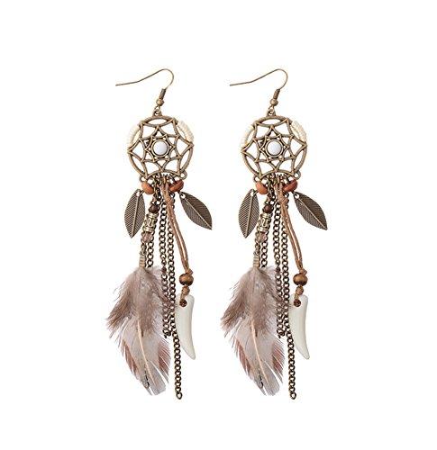 JRui HQE301 Feathered fringed Earrings for Women (Multi Coloured Gemstone Earrings)