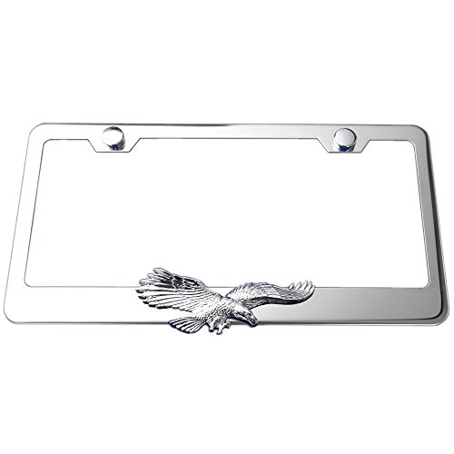 Flying Eagle 3d Chrome Emblem Polished Stainless Steel License Plate Frame