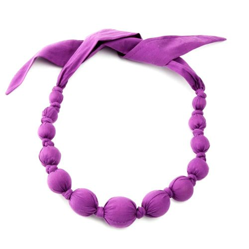 (Peppercorn Kids Girls Fabric Necklace - Solids - Violet)