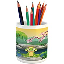King Pencil Pen Holder by Ambesonne, Fairytale Inspired Cute Little Frog Prince near Lake on Moss Rock with Flowers Image, Printed Ceramic Pencil Pen Holder for Desk Office Accessory, Multicolor