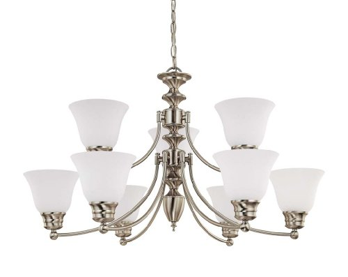 Nuvo Lighting 60 3306 Empire 9 Light 2 Tier Chandelier With Frosted Glass  Brushed Nickel