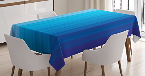 "Ambesonne Blue Tablecloth, Abstract Vertical Striped Pattern Dark Blue Tones Serene Illustration Print, Rectangular Table Cover for Dining Room Kitchen Decor, 60"" X 84"", Pale Blue"