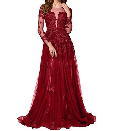 Promkleider Durchsichtig Damen Dunkel Langes Abendkleider Charmant Ballkleider Etuikleider Rot Partykleider Spitze xRaqTW7wF