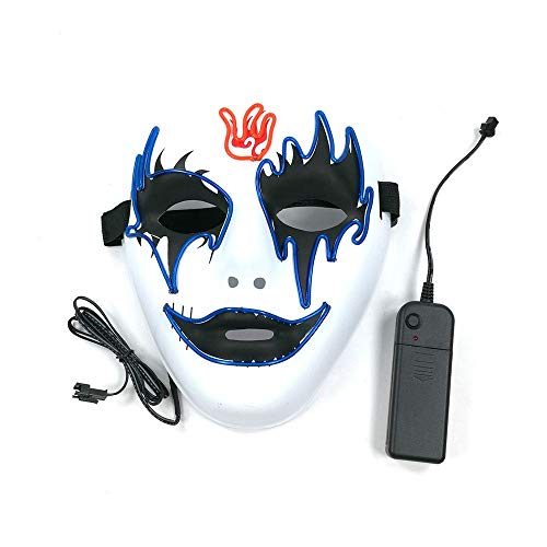 Cywulin Halloween Party Scary Props Luminous Purge Mask LED Light Up Horror Festival Cosplay Mask Costume for Men Women -