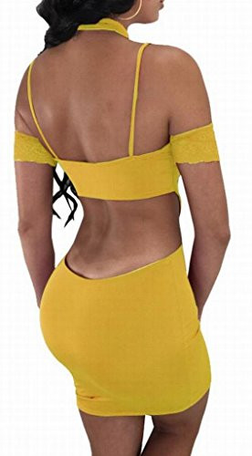 Domple Club Women's Yellow Bodycon Halter Sexy Dress Bandage Backless Cut Out Mini RR0rwqc6