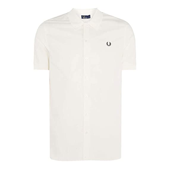 c8b518e89 Fred Perry M3550 Knitted Collar Oxford Shirt Snow White Size XXL  Amazon.co. uk  Clothing