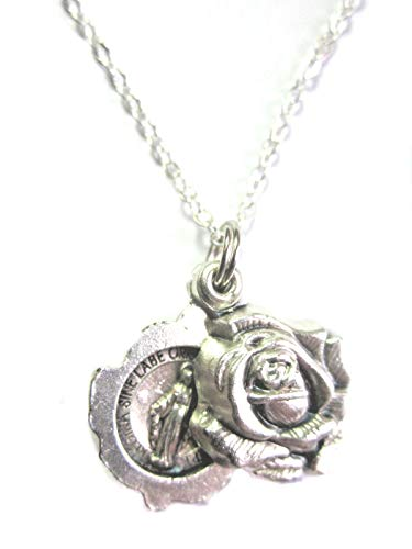 VPP Silver Tone Miraculous Medal Locket Style Rose Slide Pendant Necklace 20 inch Chain