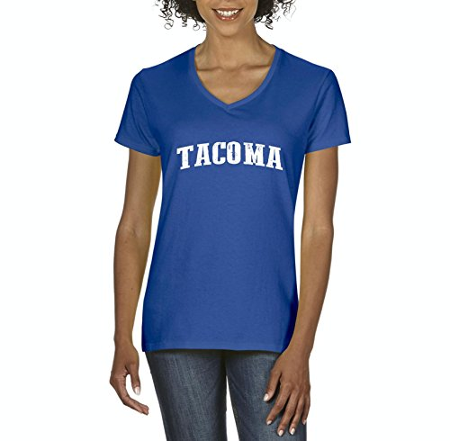 NIB Tacoma WA Seattle Map Cougars Redhawks Huskies Home University Of Washington Womens Shirts V-Neck (Hawk V-neck)