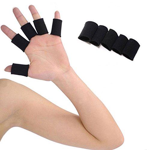 COOLOMG 10 PC Elastic Neoprene Finger Protector Sleeve Support Sports Brace Strap Wrap