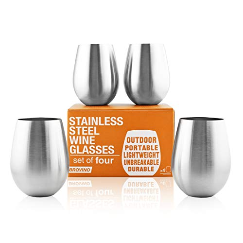 Stainless Steel Wine Glasses - Set of 4 Unbreakable 17 oz Wine Tumblers Perfect For: Outdoor Travel, Camping, Hiking, Picnic Wine Cups