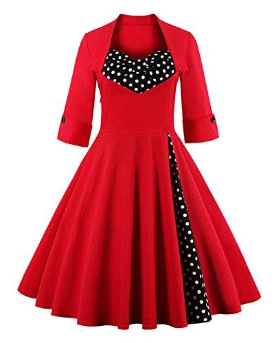 Killreal-Womens-Half-Sleeved-Polka-Dot-Patchwork-Vintage-Cocktail-Party-Dress