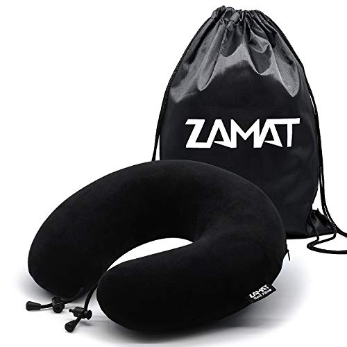 ZAMAT Breathable & Comfortable Memory Foam Travel Pillow, Adjustable Travel Neck Pillow for Airplane Travel, 360° Stable Neck Support Airplane Pillow with Soft Velour Cover, Portable Drawstring Bag