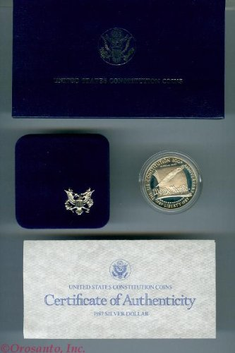 1987 Proof United States Constitution Silver Dollar Coin in Government Packaging