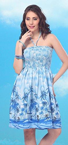 La Leela Palm Tree Design Halter Shot Tube Dress Blue