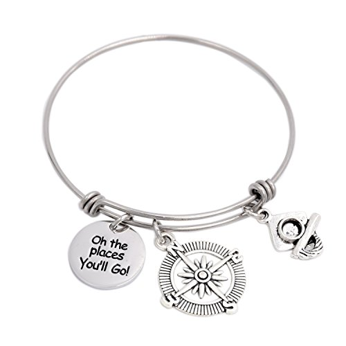 Oh The Places You Will Go Bangle Bracelet , Stainless Steel Graduation Bracelet (Stainless Steel Graduate)