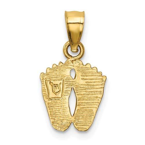 14K Yellow Gold Satin Diamond-cut Footprints Pendant from Roy Rose Jewelry