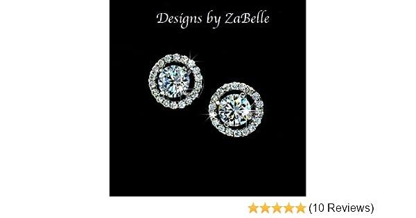 Classic Wedding AAA Cubic Zirconia Earrings Hearts /& Arrows Cut Ear Stud