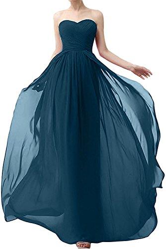 Chiffon mia Lang Abendkleider Damen Dunkel Braut Blau Jugendweihe Dunkel Gruen Aermellos Kleider Brautjungfernkleider La UwSaqX