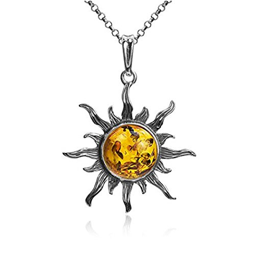 Amber Sterling Silver Sun Medium Pendant Rolo Chain 18