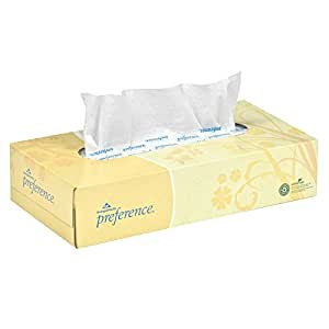 "Georgia-Pacific Preference 48100 White 2-Ply Facial Tissue, Flat Box, 8.85"" Length x 7.65"" Width (Case of 30 Boxes, 100 Sheets Per Box)"