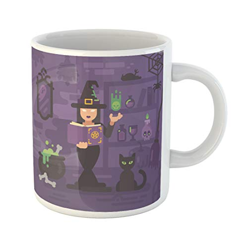 Semtomn Funny Coffee Mug Witch in Her House Studying Magic Young Sorceress Casting Spell 11 Oz Ceramic Coffee Mugs Tea Cup Best Gift Or Souvenir ()